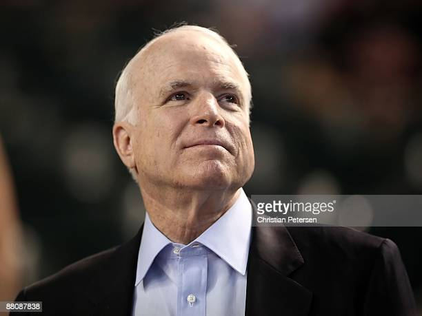 S Sen John McCain attends the major league baseball game between the San Diego Padres and the Arizona Diamondbacks at Chase Field on May 25 2009 in...