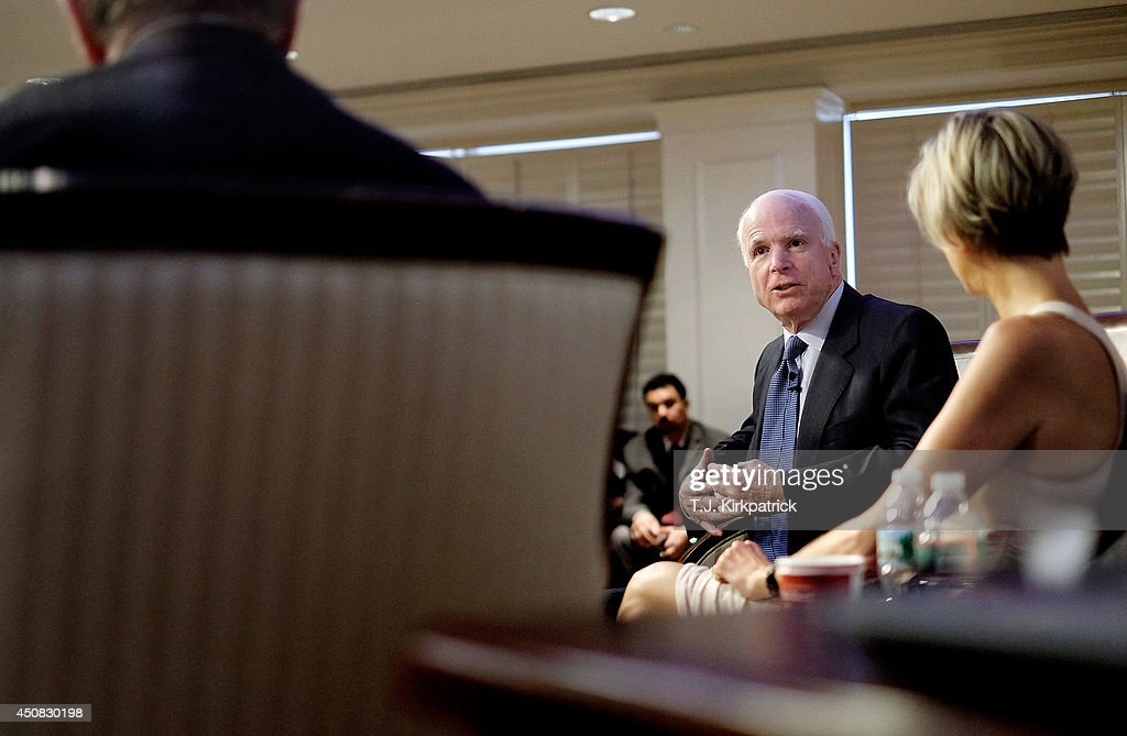 John McCain Discusses The Situation In Iraq At American Enterprise Institute : News Photo