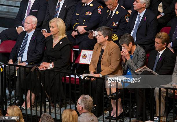 US Sen John McCain Cindy McCain Secretary of Homeland Security Janet Napolitano Secretary of Interior Sally Jewell and US Sen Jeff Flake attend a...