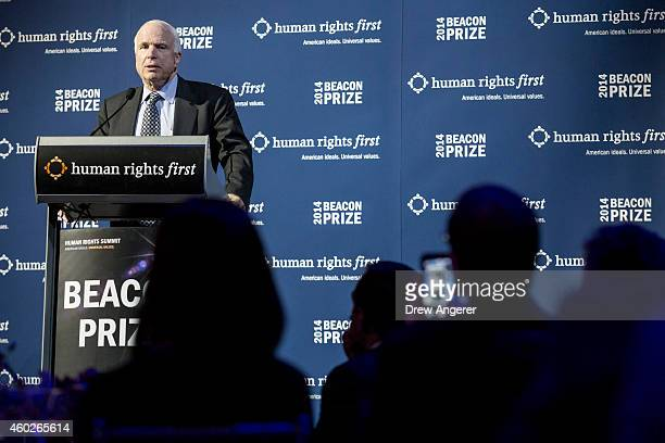 Sen John McCain delivers remarks during a gala event hosted by the Human Rights First organization at the Newseum December 10 2014 in Washington DC...