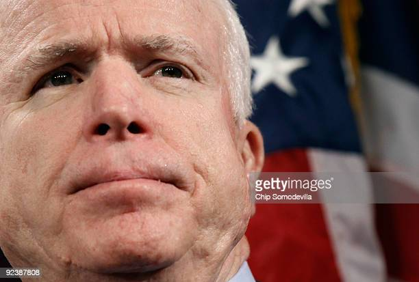 Sen John McCain hold a news conference to announce the introduction of The Post9/11 Troops to Teachers Enhancement Act at the US Capitol October 27...