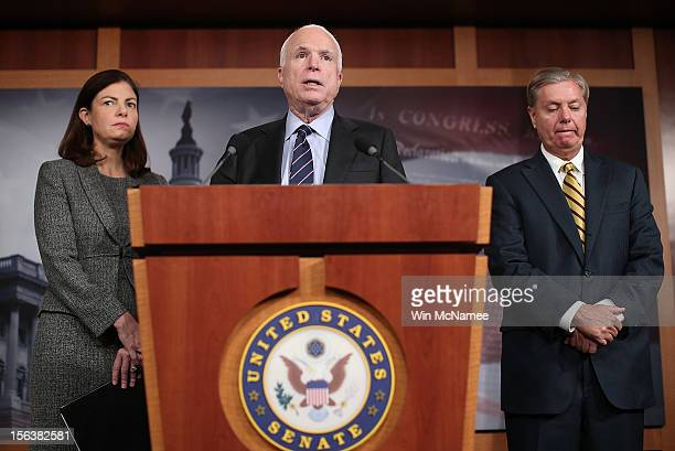 Sen. John McCain , Sen. Lindsey Graham , and Sen. Kelly Ayotte hold a news conference on the Benghazi terrorist attack at the U.S. Capitol November...