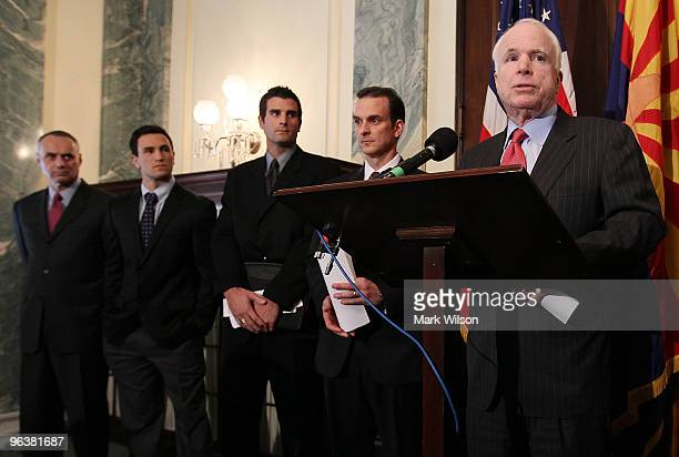 Sen John McCain speaks about dietary supplements while flanked by Rob Manfred executive vice president of labor for Major League BaseballKicker...