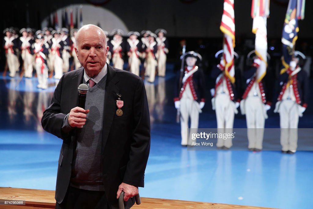 U.S. Sen. John McCain (R-AZ) speaks after he was presented with the Outstanding Civilian Service Medal during a special Twilight Tattoo performance November 14, 2017 at Fort Myer in Arlington, Virginia. Sen. McCain was honored for over 63 years of dedicated service to the nation and the U.S. Navy.