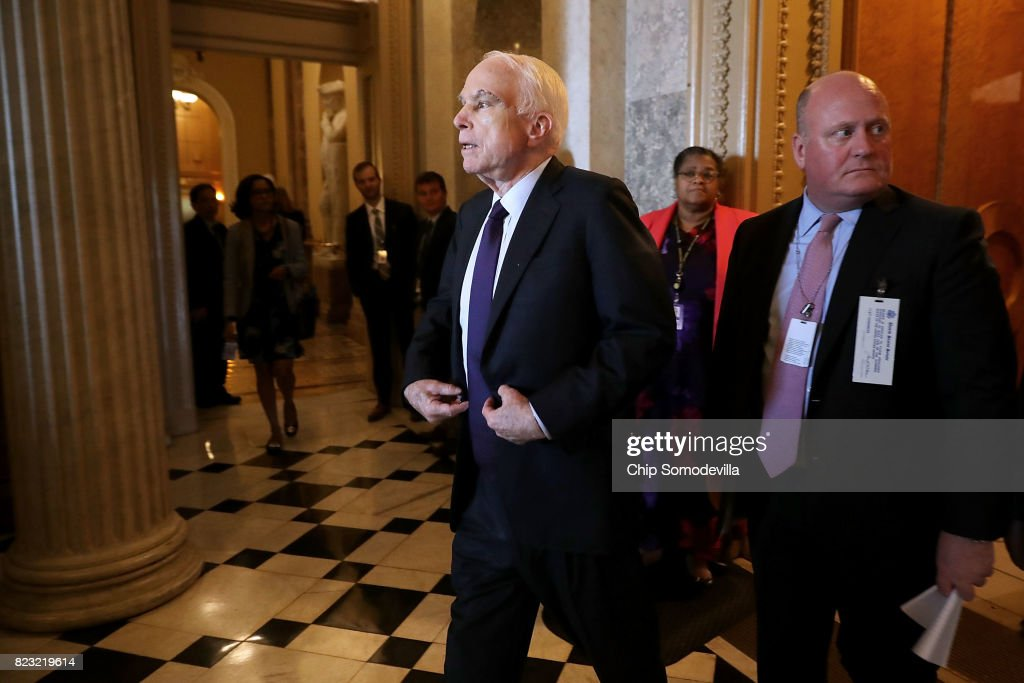 Sen. John McCain (R-AZ), who was recently diagnosed with brain cancer, leaves the Senate Chamber following votes in the U.S. Capitol July 26, 2017 in Washington, DC. GOP efforts to pass legislation to repeal and replace the Affordable Care Act, also known as Obamacare, were dealt setbacks when a mix of conservative and moderate Republican senators joined Democrats to oppose procedural measures on the bill.