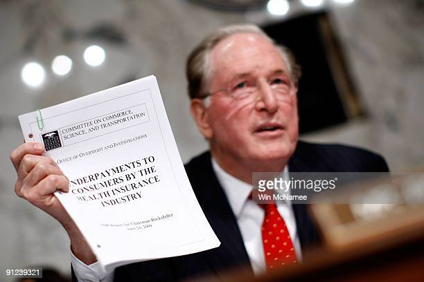 Sen John Rockefeller makes a point during the full Senate Finance Committee markup of The America's Health Future Act September 29 2009 in Washington...