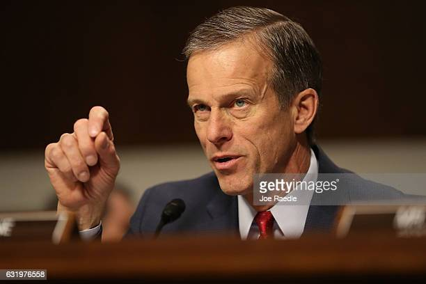 Sen John Thune asks a question during the confirmation hearing of Wilbur Ross picked by Presidentelect Donald Trump to serve as his commerce...