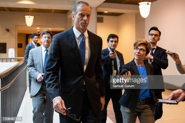 Sen. John Thune , Senate Majority Whip, talks to reporters as he leaves a briefing for Senators by officials from the Department of Homeland...