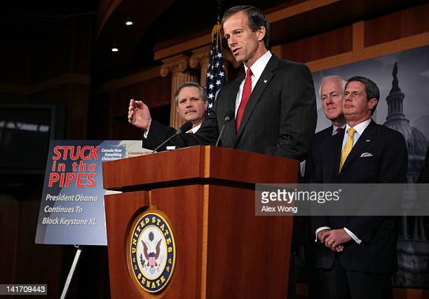 S Sen John Thune speaks as Sen John Hoeven Sen John Cornyn and Sen David Vitter listen during a news conference March 22 2012 on Capitol Hill in...