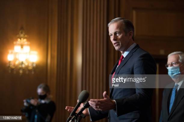 Sen. John Thune speaks during a news conference following the weekly meeting with the Senate Republican caucus at the U.S. Capitol on December 15,...