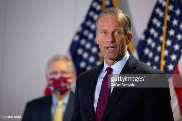 Sen. John Thune speaks during a press conference following the weekly Senate Republican policy luncheon in the Hart Senate Office Building on June...