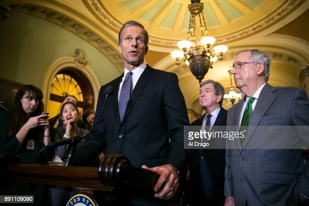S Sen John Thune speaks to reporters about the Alabama Senate race during a news conference on Capitol Hill December 12 2017 in Washington DC At...