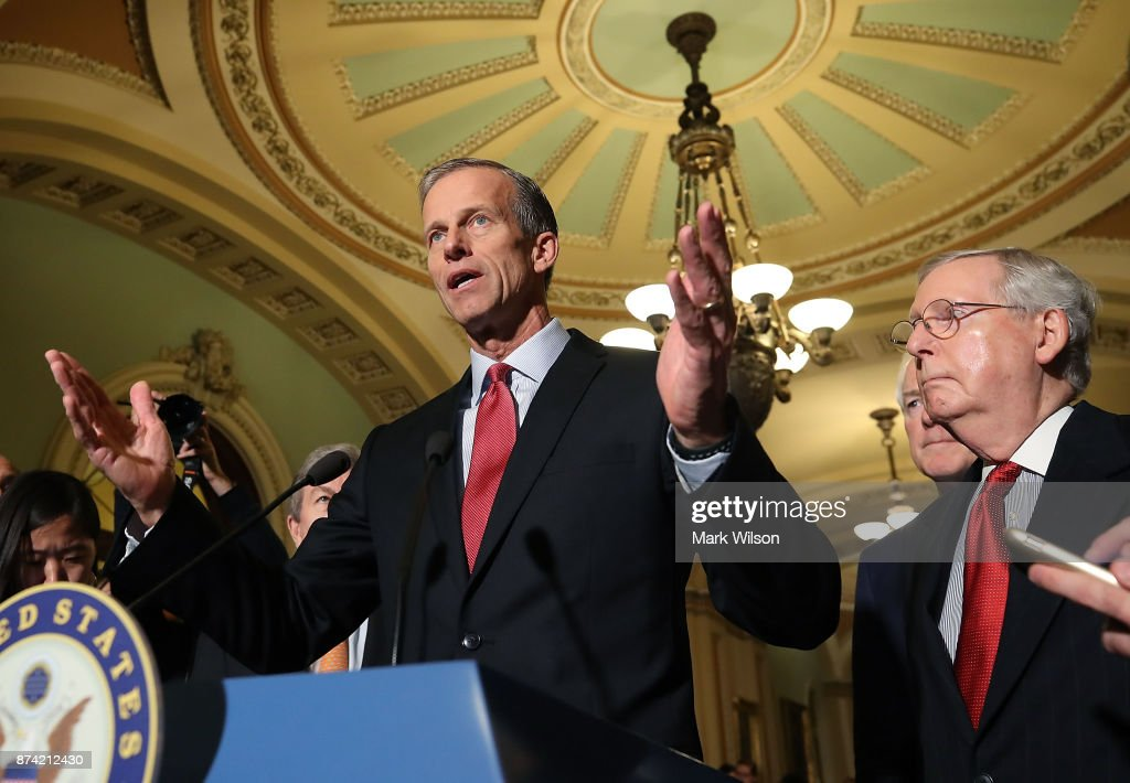 Sen. John Thune (R-SD), speaks to reporters about the proposed Senate Republican tax bill, after attending the Senate GOP policy luncheon, at US Capitol on November 14, 2017 in Washington, DC.