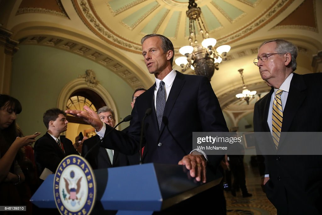 Sen. John Thune (R-ND) speaks with members of the Senate Republican leadership during a press conference at the U.S. Capitol on September 12, 2017 in Washington, DC. During the press conference, Senate Majority Leader Mitch McConnell answered a range of questions relating to the upcoming Senate agenda.