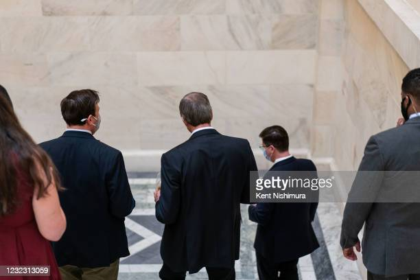 Sen. John Thune speaks with reporters on Capitol Hill on Wednesday, April 14, 2021 in Washington, DC.