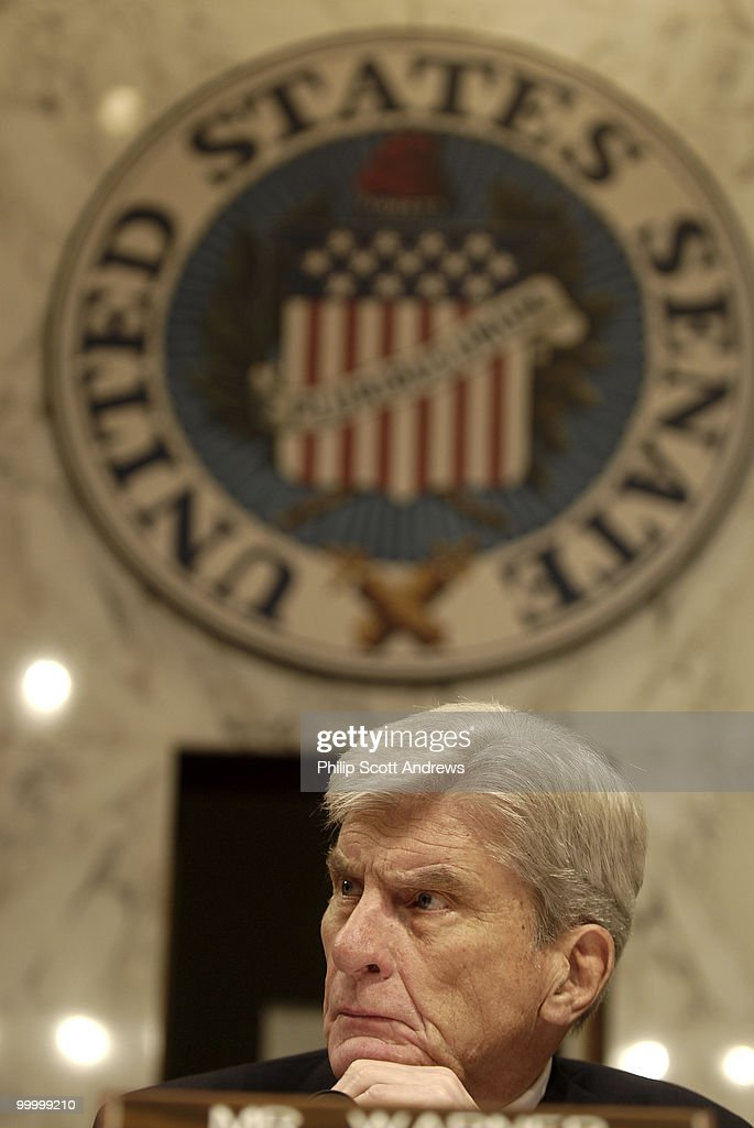 Sen. John Warner, R-Va presides over the Senate Armed Services Committee during hearings on the war in Iraq and Afghanistan.