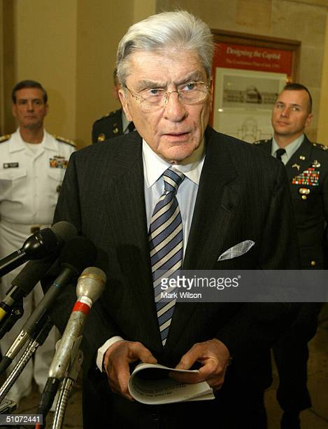 Sen John Warner speaks about the conditions at the Abu Ghraib prison in Iraq July 15 2004 on Capitol Hill in Washington DC Earlier in the day Warner...