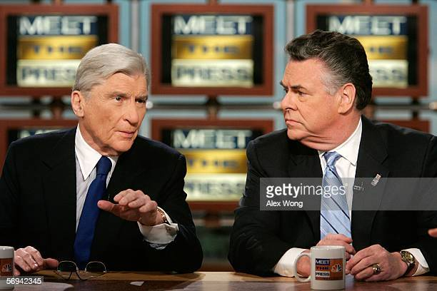 S Sen John Warner speaks as Rep Peter King looks on during a taping of Meet the Press February 26 2006 at the NBC studios in Washington DC Warner and...
