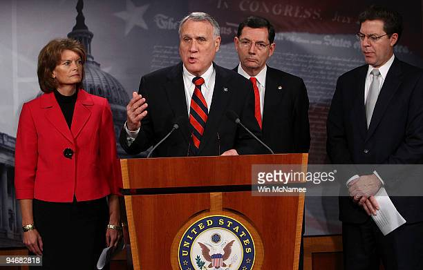 Sen Jon Kyl speaks during a news conference by Republican Senators to highlight the Obama administration's attempt to circumvent Congress by imposing...
