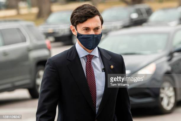 Sen. Jon Ossoff, D-Ga., arrives to the Capitol on the fourth day of former President Donald Trumps impeachment trial on Friday, February 12, 2021.