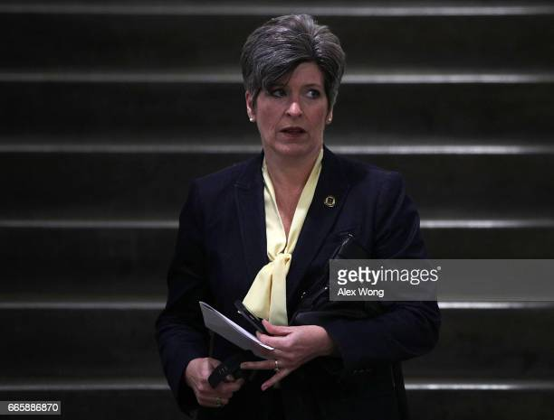 S Sen Joni Ernst arrives for a closed briefing on the airstrikes against Syria by Chairman of the Joint Chiefs Gen Joe Dunford April 7 2017 at the...