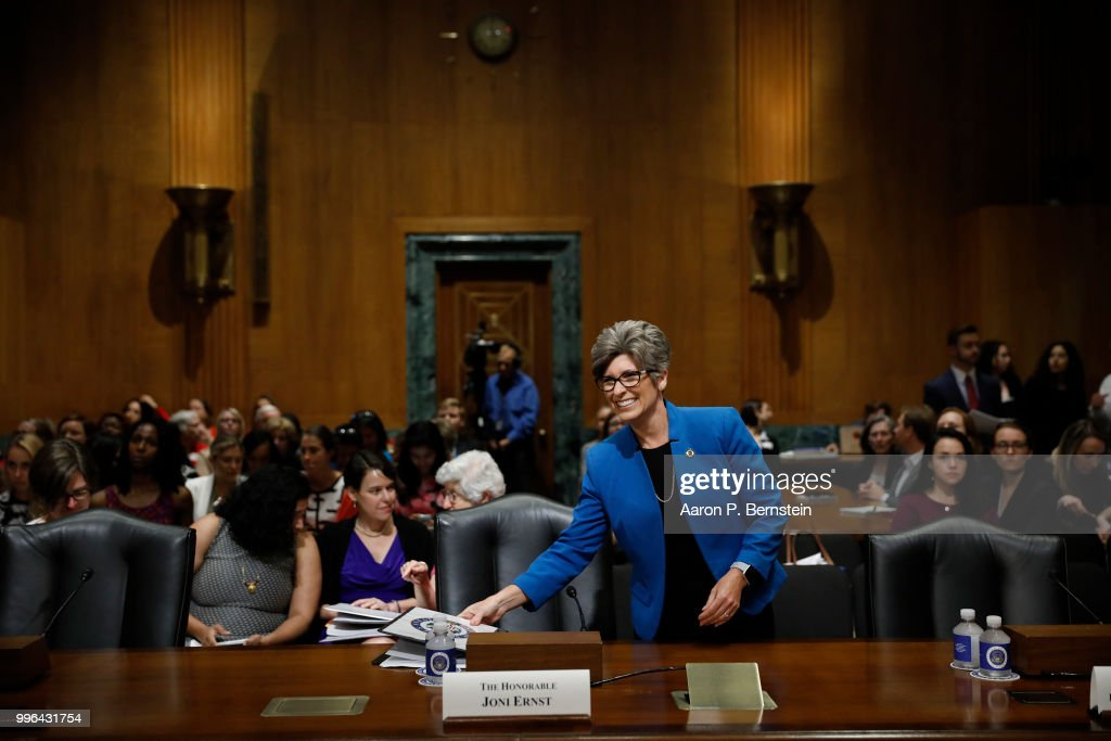 Sen. Joni Ernst (R-IA) arrives for a Commerce Committee hearing on paid family leave July 11, 2018 on Capitol Hill in Washington, DC. Legislators are hoping to add a paid family leave component to the Social Security Administration.