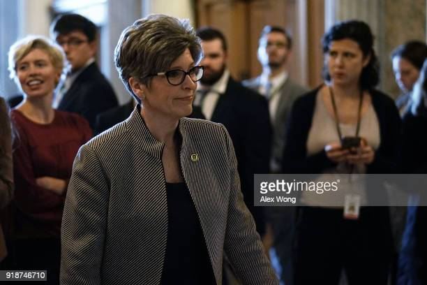 S Sen Joni Ernst arrives for a number of votes at the Capitol February 15 2018 in Washington DC A bipartisan DACAboarder security deal has failed in...