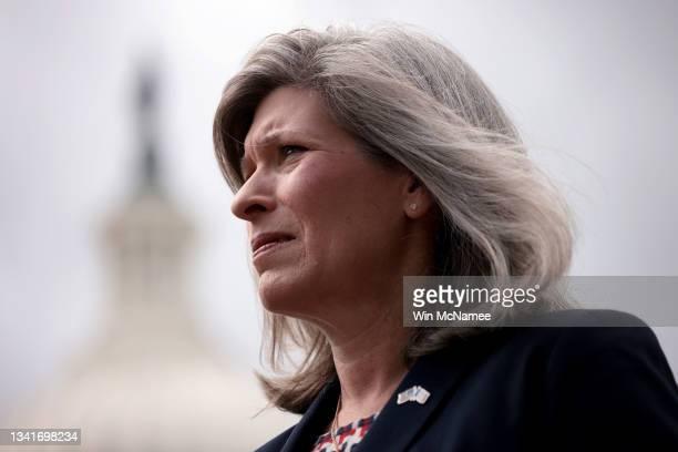 Sen. Joni Ernst attends a press conference outside the U.S. Capitol September 21, 2021 in Washington, DC. Ernst spoke on the creation of a Global War...