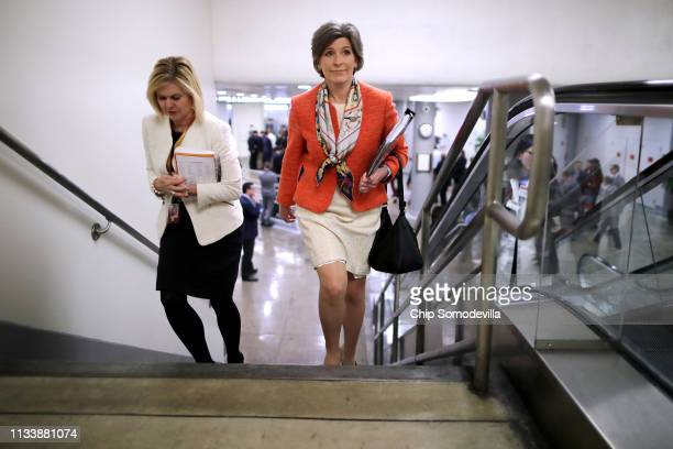 Sen Joni Ernst heads to the US Capitol for the weekly Republican policy luncheon March 05 2019 in Washington DC With the support of at least four...