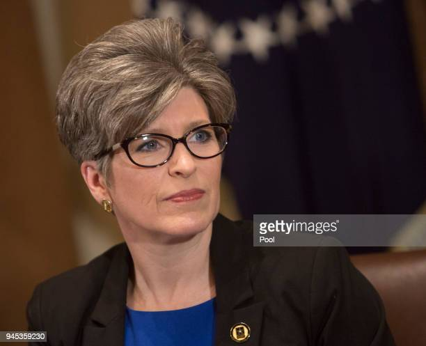 Sen Joni Ernst participates in a meeting on trade with held by US President Donald Trump with governors and members of Congress at the White House on...
