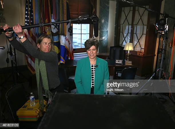 Sen. Joni Ernst practices the Republican response she will give after U.S. President Obama's State of the Union address, on Capitol Hill January 20,...