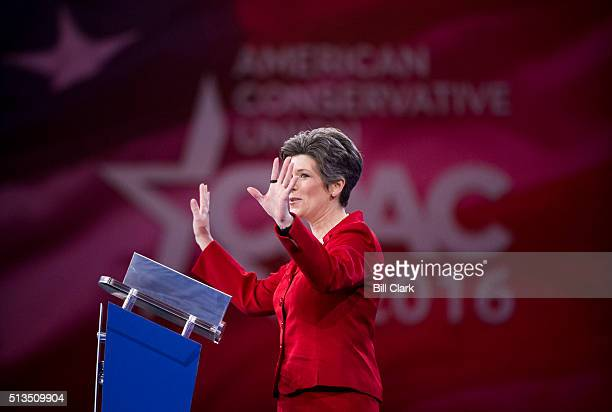 Sen. Joni Ernst, R-Iowa, speaks at the American Conservative Union's CPAC conference at National Harbor in Oxon Hill, Md., on Thursday, March 3, 2016.