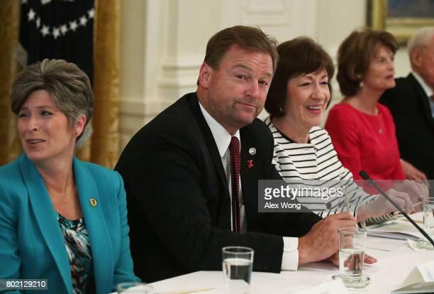 Sen. Joni Ernst , Sen. Dean Heller , Sen. Susan Collins , and Sen. Lisa Murkowski wait for the beginning of a meeting with President Donald Trump at...