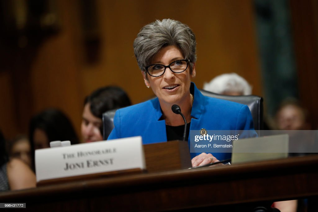Sen. Joni Ernst (R-IA) speaks during a Commerce Committee hearing on paid family leave July 11, 2018 on Capitol Hill in Washington, DC. Legislators are hoping to add a paid family leave component to the Social Security Administration.