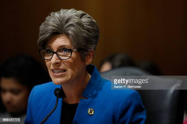 Sen Joni Ernst speaks during a Commerce Committee hearing on paid family leave July 11 2018 on Capitol Hill in Washington DC Legislators are hoping...