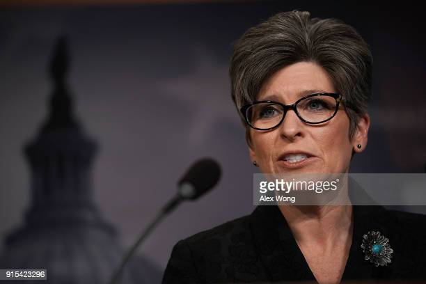 S Sen Joni Ernst speaks during a news conference at the Capitol February 7 2018 in Washington DC Sen Jeanne Shaheen and Sen Ernst announced a...