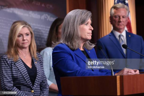 Sen. Joni Ernst speaks during a news conference on Capitol Hill September 14, 2021 in Washington, DC. Sullivan joined other Republican members of the...