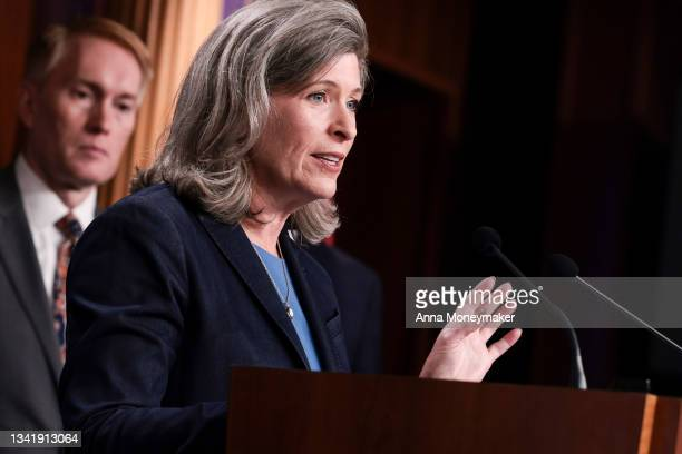 Sen. Joni Ernst speaks during a news conference on the debt ceiling at the U.S. Capitol on September 22, 2021 in Washington, DC. Senate Minority...