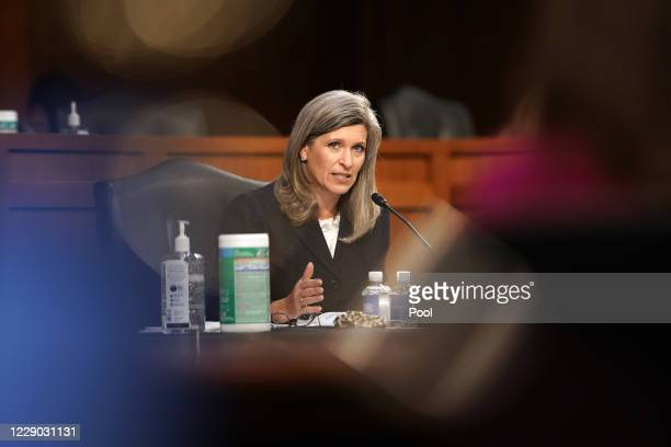 Sen. Joni Ernst speaks during Supreme Court Justice nominee Judge Amy Coney Barrett's Senate Judiciary Committee confirmation hearing for Supreme...