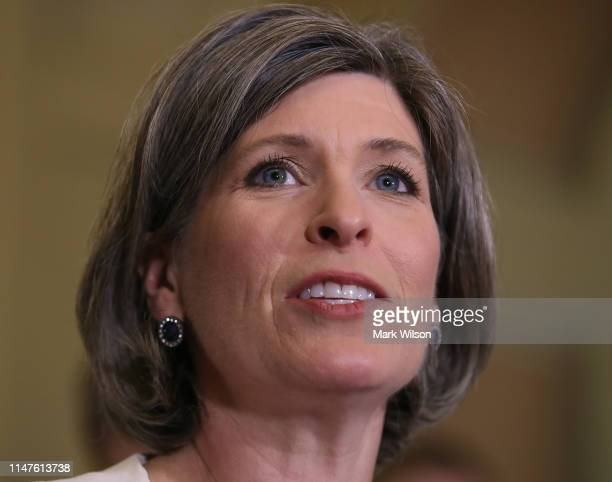 Sen Joni Ernst speaks to the media after attending the Republican weekly policy luncheon on Capitol Hill May 7 2019 in Washington DC Earlier in the...