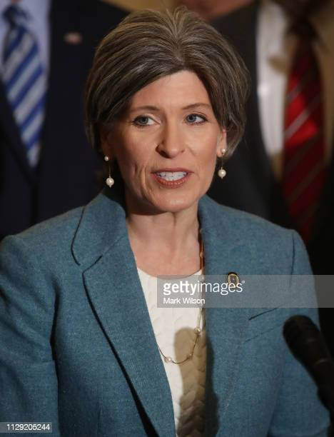 Sen Joni Ernst speaks to the media after attending the weekly Senate Republican luncheon at the US Capitol on February 12 2019 in Washington DC