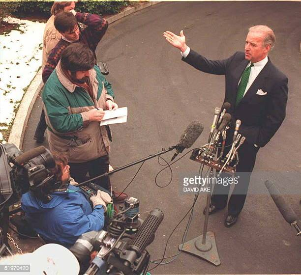 Sen Joseph Biden DDelspeaks to reporters after meeting with US President Bill Clinton at the White House10 February to discuss Dr Henry Foster's...