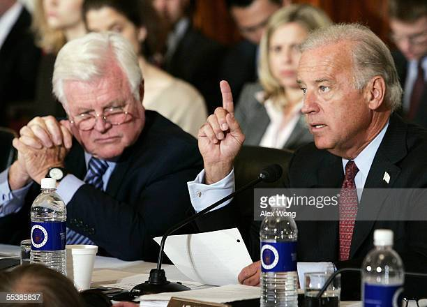 Sen. Joseph Biden makes opening remarks during the first day of confirmation hearings for Supreme Court Chief Justice nominee John Roberts as Sen....
