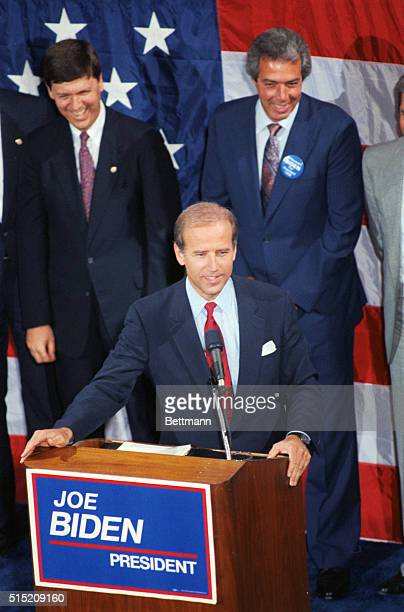Sen Joseph Biden pauses before a press conference he called to respond to charges by a conservative group that a house owned by his parents in which...