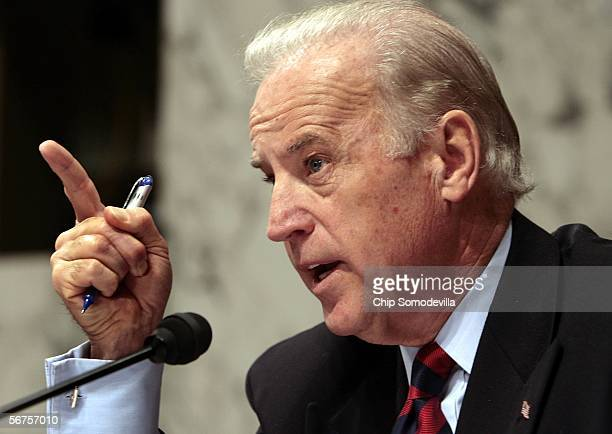 Sen. Joseph Biden questions U.S. Attorney General Alberto Gonzales during a Senate Judiciary Committee hearing on Capitol Hill February 6, 2006 in...