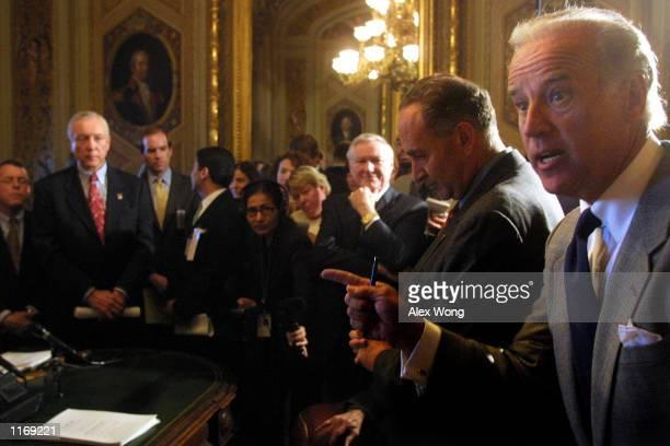 Sen Joseph Biden speaks as Sen Chuck Schumer Sen Mike DeWine and Sen Orrin Hatch listen during a Senate Judiciary Committee meeting October 18 2001...