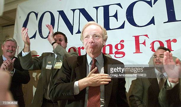 S Sen Joseph Lieberman DCT soon to be Vice President Al Gore's running mate for vice president celebrates August 7 2000 in front of the AFLCIO...