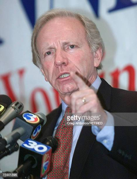S Sen Joseph Lieberman DCT soon to be Vice President Al Gore's running mate for vice president speaks to the media and supporters August 7 2000 in...