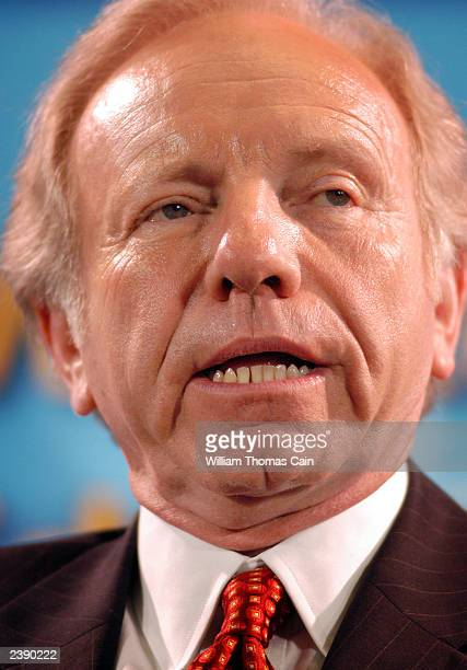 Sen. Joseph Lieberman participates in a town hall meeting of Democratic presidential candidates at the National Constitution Center August 11, 2003...