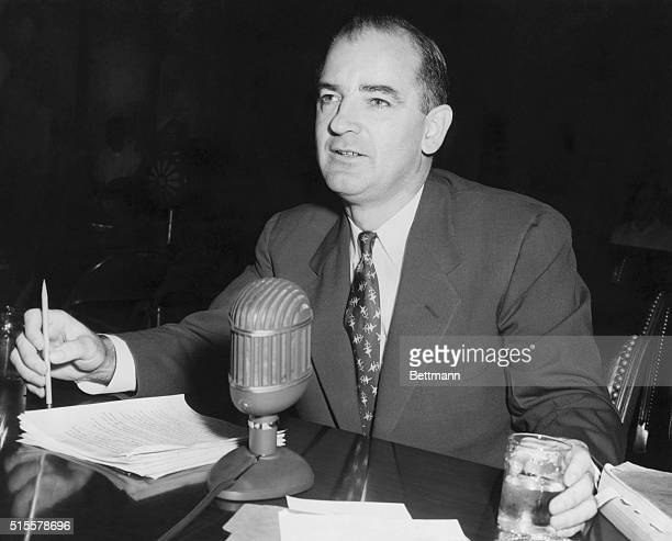 Sen. Joseph McCarthy testifies before the Senate Sub Committee in an effort to link Senator Benton to State Department communists. Undated photograph.